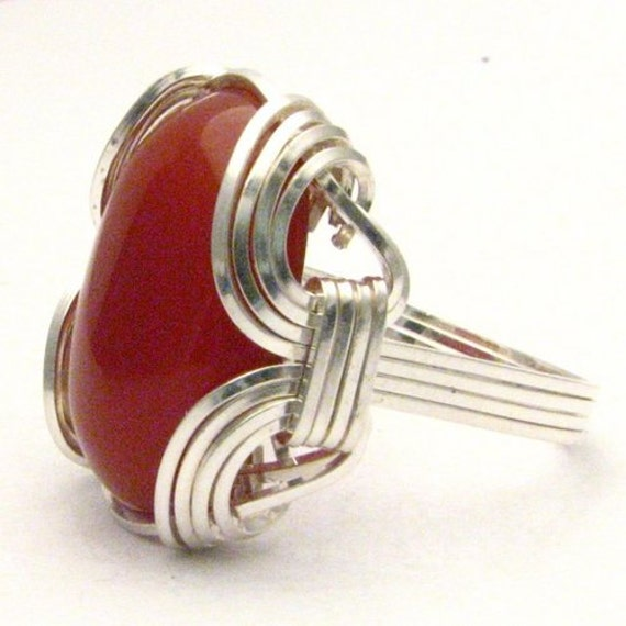 Handmade Sterling Silver Wire Wrap Carnelian Cabochon Ring