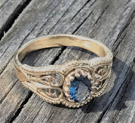 Handmade 14kt Gold Filigree Crown Ring Tanzanite Gemstone Ring Get this for your January babies  8x6mm 1.5ct 5.6 Gr. of Gold