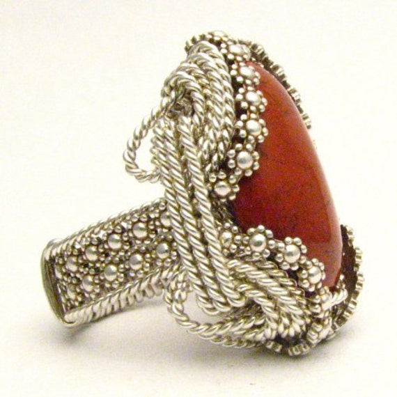 Handmade Sterling Silver Berry Wire Wrapped Vintage Red Jasper Ring