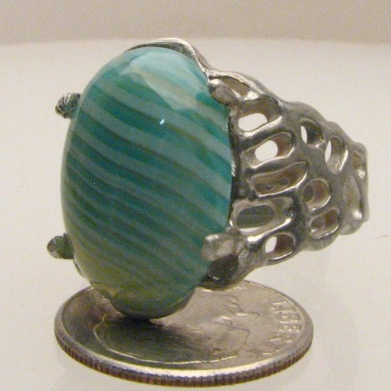 Handmade Sterling Silver Green/White Sardonyx Lava Ring