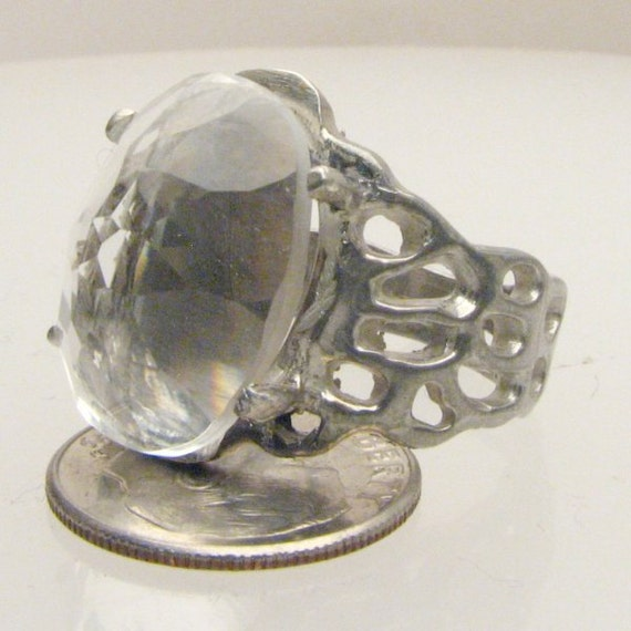 Handmade Sterling Silver Diamond Quartz Lava Ring