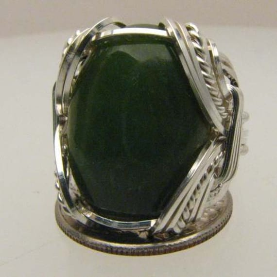 Handmade Solid Sterling Silver Wire Wrap Green Adventure Ring