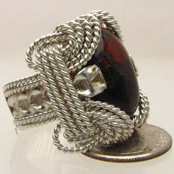 Handmade Solid Sterling Silver Wire Wrap Poppy Jasper Ring