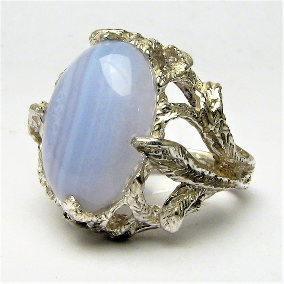 Handmade Sterling Silver Blue Lace Agate Cab Ring