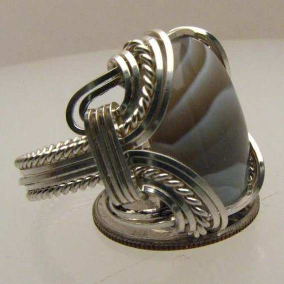 Handmade Solid Sterling Silver Wire Wrap Botswana Agate Ring