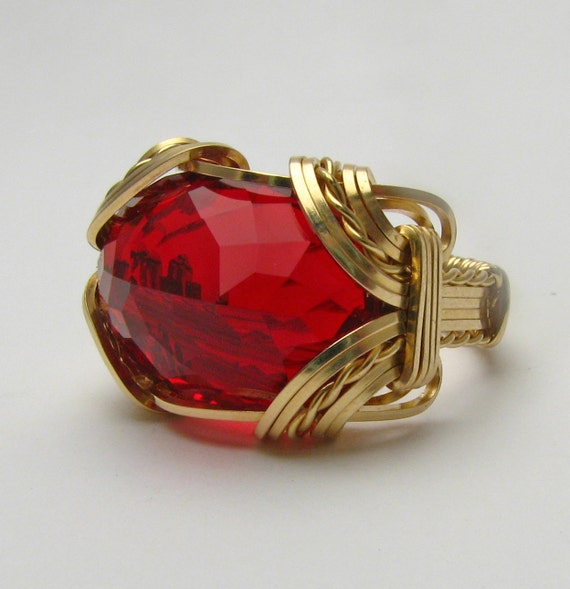 Handmade Vintage Victorian 14kt Gold Filled Wire Wrap Man Made Ruby Ring