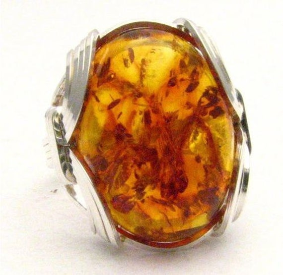 Handmade Sterling Silver Wire Wrap Amber Victorian Weave Ring