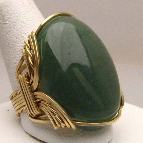 Handmade 14kt Gold Filled Wire Wrap Green Moss Agate Ring