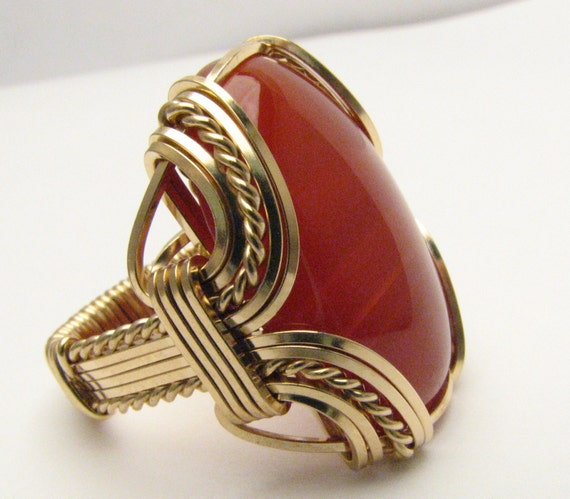 Wire Wrapped Ring Vintage Handcrafted Victorian  14kt Gold Filled Wire Wrap Red Carnelian Gemstone Ring