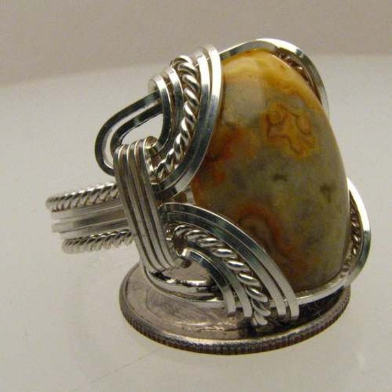 Handmade Solid Sterling Silver Wire Wrap Crazy Lace Agate Ring