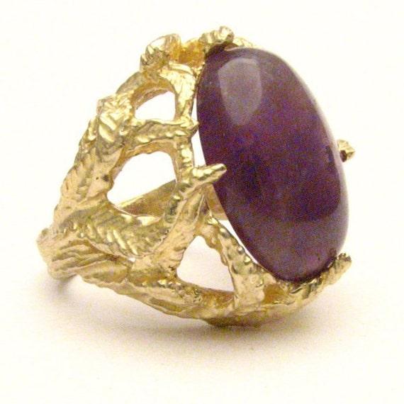 Handmade 14kt Gold Amethyst Cab Claw Ring