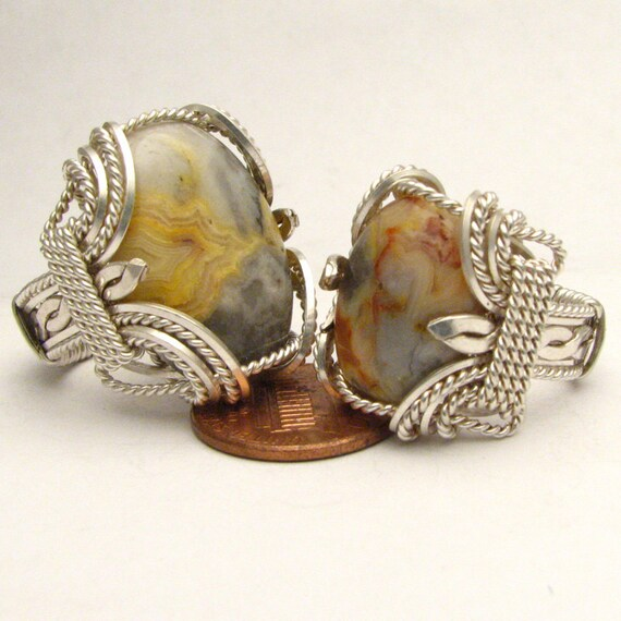 Handmade Wire Wrapped Crazy Lace Agate Sterling Silver Ring. Custom Personalized Sizing to fit you.