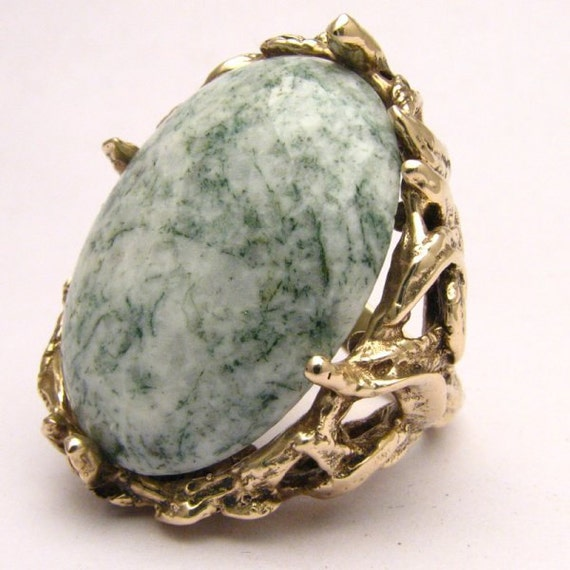 Handmade 14kt Gold Green Tree Agate Massive Claw Ring