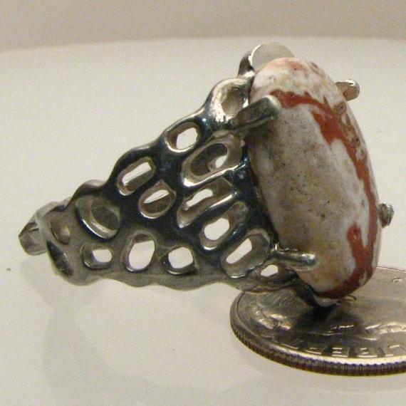 Handmade Sterling Silver Rosetta Picture Stone Lava Ring