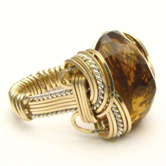Handmade Artisan Wire Wrap Whiskey Quartz Gemstone Two Tone Sterling Silver/14kt Gold Filled Ring