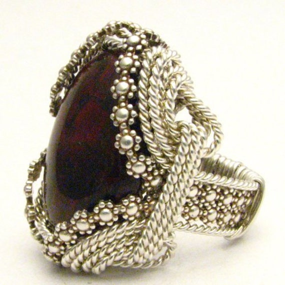 Handmade Sterling Silver Berry Wire Wrap Poppy Jasper Ring