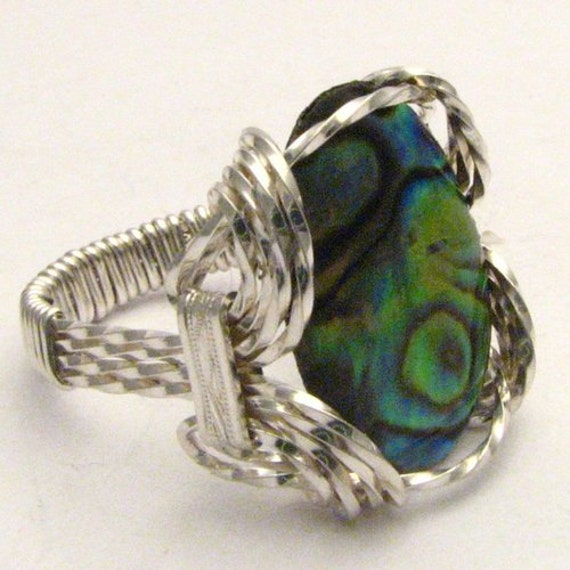 Handmade Sterling Silver Wire Wrap Abalone Shell Ring