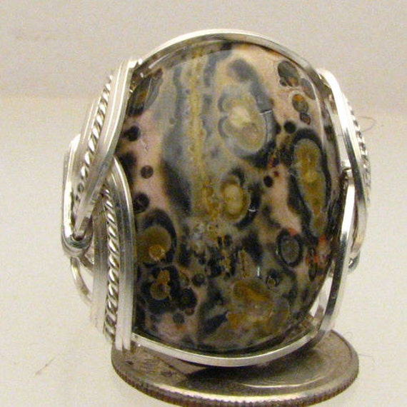 Agate Wire Wrapped Ring Handmade Ring Sterling Silver Wire Wrapped Leopard Skin Agate Ring
