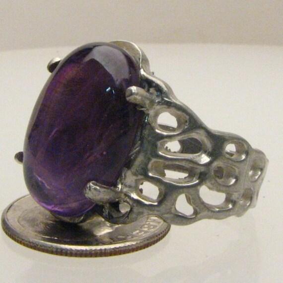 Handmade Sterling Silver Amethyst Cab Lava Ring