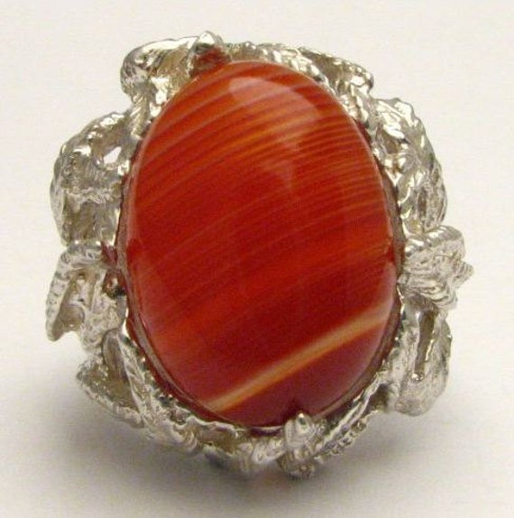 Red White Sardonyx Onyx Cab Gemstone Solid Sterling Silver Cabochon Ring.   Custom Sized to fit you.