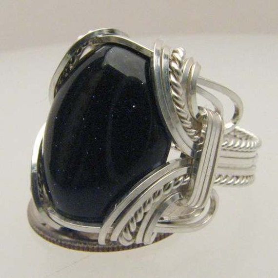 Handmade Solid Sterling Silver Wire Wrap Blue Goldstone Ring