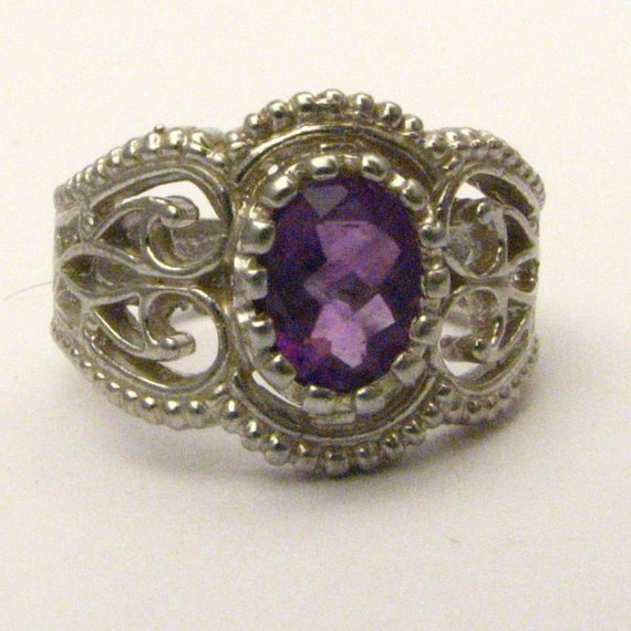 Handmade Sterling Silver Filigree Crown Amethyst Ring
