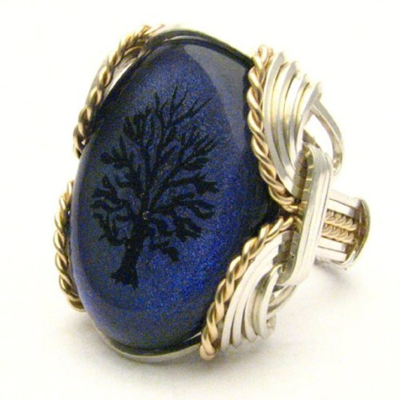 Handmade Wire Wrap Sterling Silver/14kt Gold Filled Purple Tree of Life Dichroic Glass Cab Ring