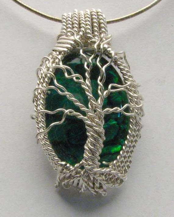 Handmade Solid Sterling Silver Wire Wrap Green Paua Shell Pendant