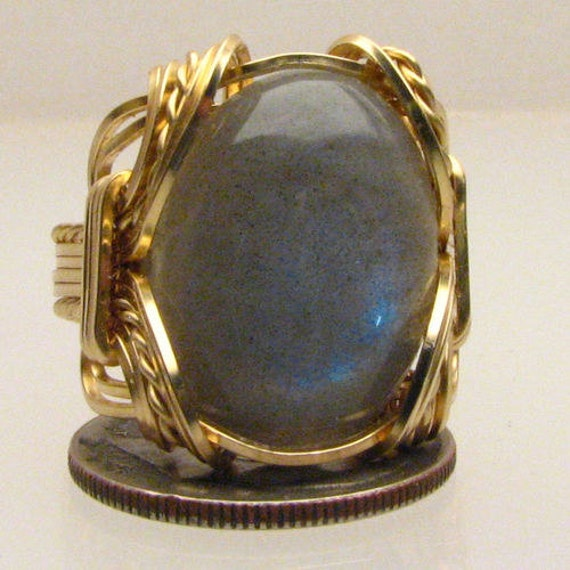 Handmade Solid 14kt Gold Wire Wrap Labradorite Ring
