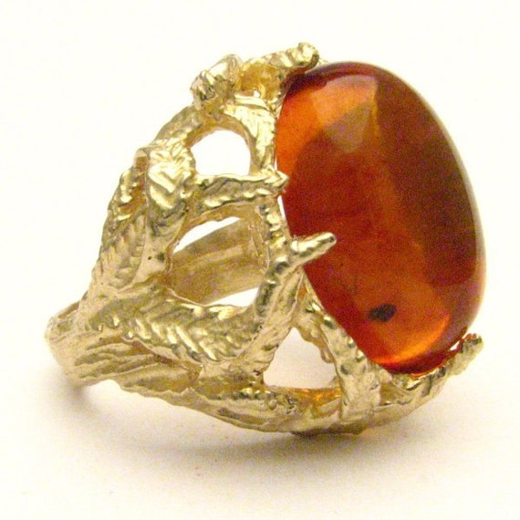 Handmade 14kt Gold Amber Claw Cabochon Ring