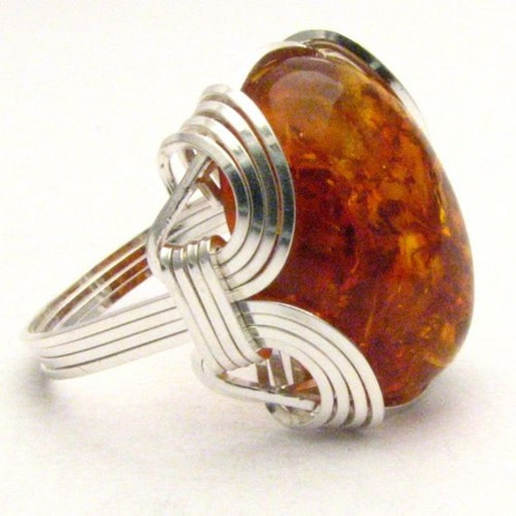 Handmade Sterling Silver Wire Wrap Amber Cabochon Ring