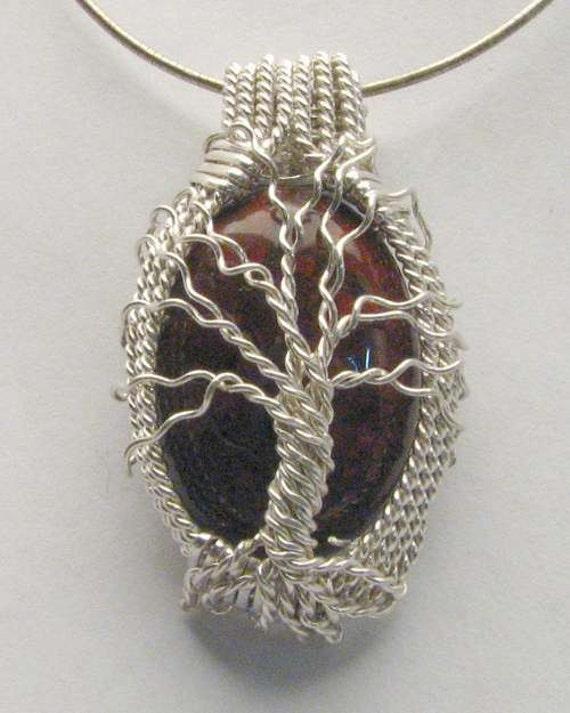 Handmade Solid Sterling Silver Wire Wrap Poppy Jasper Pendant
