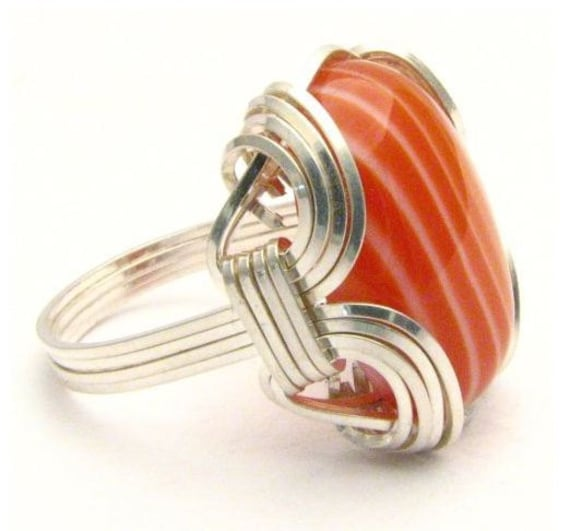 Wire Wrapped Red, Orange, White Sardonyx Onyx Gemstone Sterling Silver Ring.  Custom Sized to fit you.