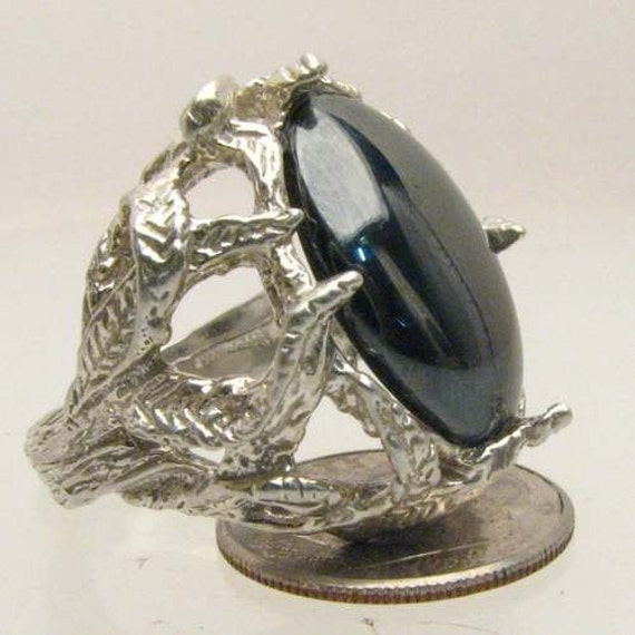 Handmade Solid Sterling Silver Hematite Cab Ring