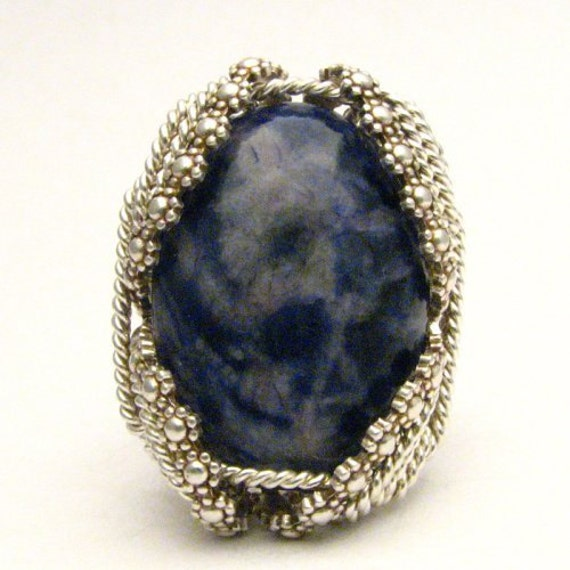 Handmade Sterling Silver Berry Wire Wrap Blue Sodalite Gemstone Ring