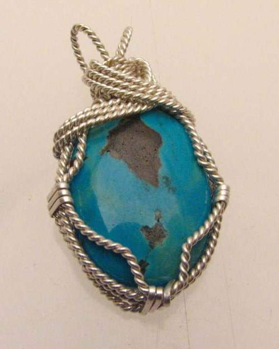 Handmade Solid Sterling Silver Wire Wrap Tree Turquoise Pendant