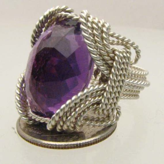 Handmade Solid Sterling Silver Wire Wrap Amethyst Ring