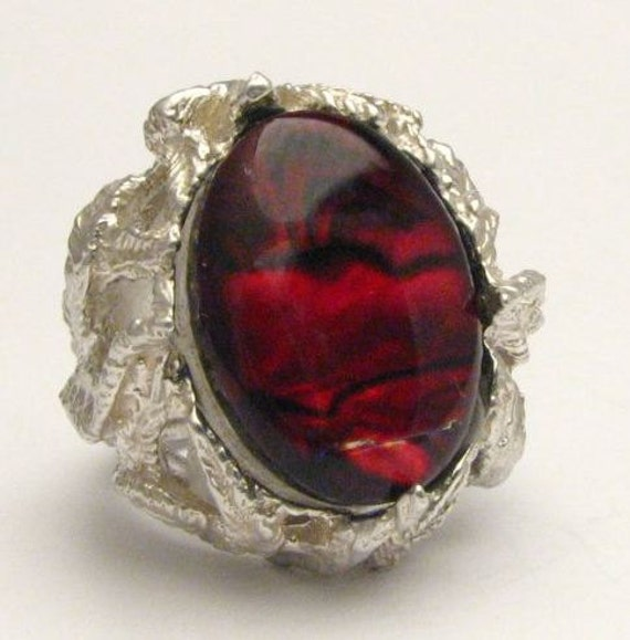 New Custom Made Red Paua Shell Ring Beautiful Band Design 12.5ct 10 grams of Solid Sterling Silver.   Custom Sized to fit you.