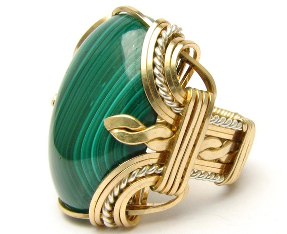 Wire Wrapped Ring Victorian ring Wire Wrap ring Two Tone Ring Sterling Silver/14kt Gold Filled Ring  Malachite Gemstone Ring Cabochon Ring