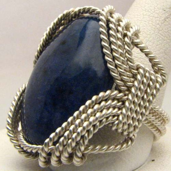 Handmade Sterling Silver Wire Wrap Blue Sodalite Ring