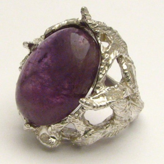Handmade Sterling Silver Amethyst Cabochon Ring