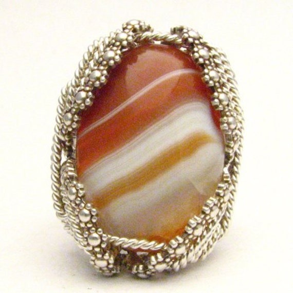 Handmade Sterling Silver Berry Wire Wrap Sardonyx Cabochon Ring