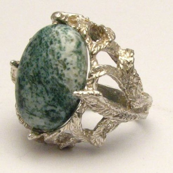 Handmade Claw Unique Designed Green Tree Agate Cab Solid Sterling Silver Cocktail Ring.  Custom Sized to fit you.