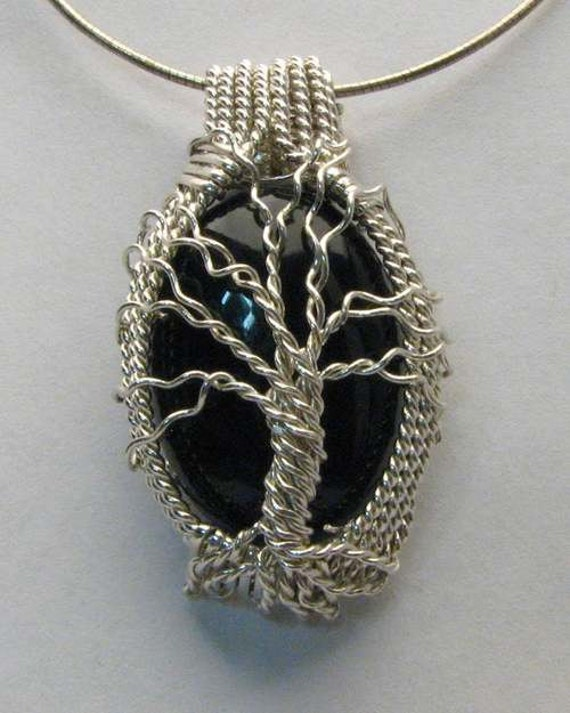 Tree of Life Pendant Handmade Pendant Sterling Silver Pendant Wire Wrapped Genealogy Black Onyx Pendant