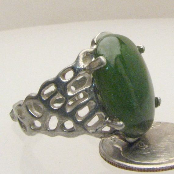 Handmade Sterling Silver Green Adventure Agate Lava Ring