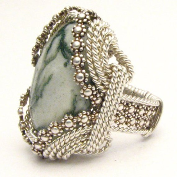 Sterling Silver Ring Berry Wire Wrapped Ring Handmade Green Tree Agate Ring