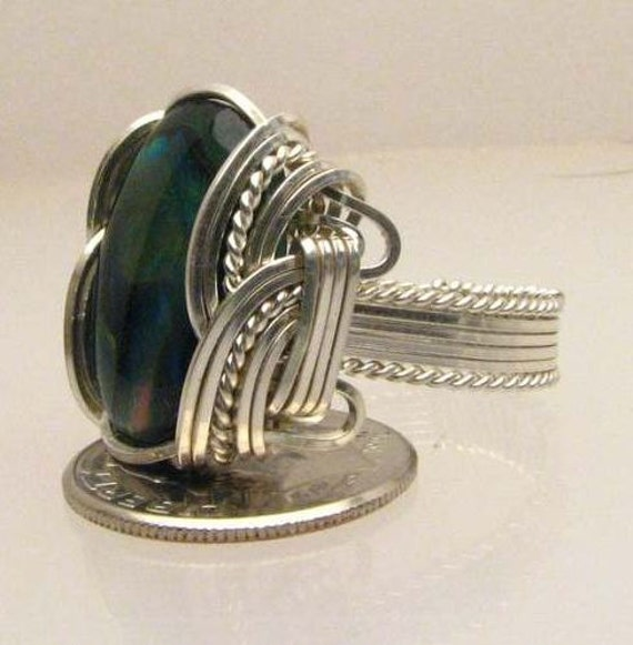 Handmade Wire Wrapped Green Paua Shell Sterling Silver Ring. Custom Personalized Sizing to fit you.
