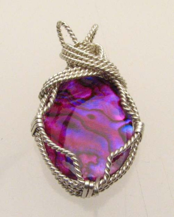 Handmade Solid Sterling Silver Wire Wrap Paua Shell Pendant