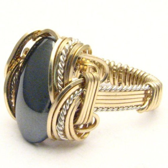 Handmade Wire Wrap Two Tone Sterling Silver/14kt Gold Filled Hematite Ring