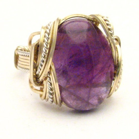 Handmade Wire Wrap Two Tone Sterling Silver/14kt Gold Filled Amethyst Cab Ring